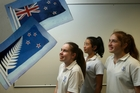 Tauranga Girls' College students Amy Earles, Chris Bae, and Caitlin Robb have shared their choices for New Zealand's flag. Photo / John Borren