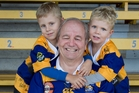 Greg Rowlands, pictured with grandsons Flynn, 4, (left) and Reid, 2, lives in a dementia care home at the age of 68. Photo / Alan Gibson