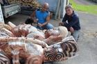 Rotorua carver Albert Te Pou with Rotorua Lakes Council community arts adviser Marc Spijkerbosch.