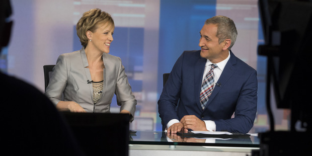 Hilary Barry and Mike McRoberts fronting 3News in 2015.