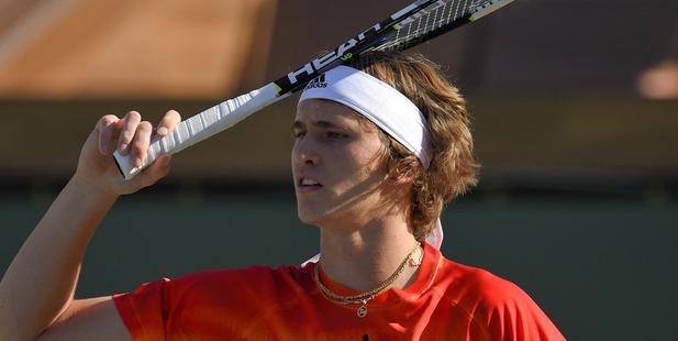 Loading Alexander Zverev reacts as he plays Rafael Nadal. Photo / AP