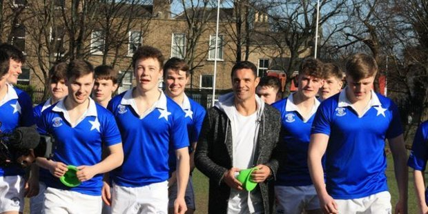 Dan Carter's visit to St Mary's College in Dublin earlier this month - part of an ad campaign with global supermarket chain Aldi - was published on the company's YouTube channel. Photo / Twitter