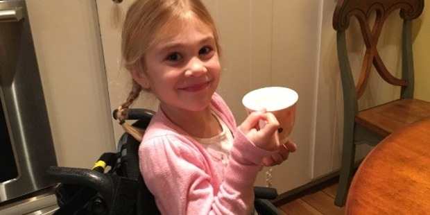 Five-year-old Eden Hoelscher faces intensive therapy to increase sensation in her lower body. Photo / Go Fund Me