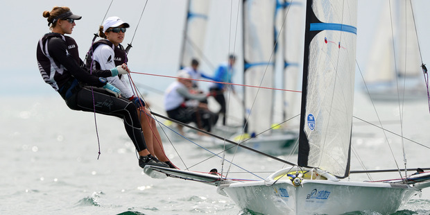 Alex Maloney and Molly Meech at the ISAF Sailing World Cup. Photo / Getty Images