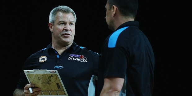 Dean Vickerman talks to assistant coach Paul Henare while coaching the Breakers. Photo / Getty Images