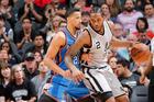 Kawhi Leonard drives to the basket against the Oklahoma City Thunder. Photo / Getty Images