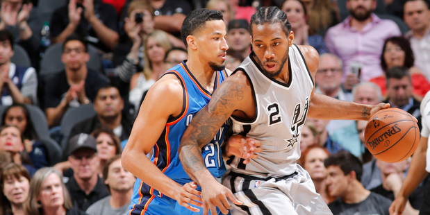 Kawhi Leonard drives to the basket against the Oklahoma City Thunder. Photo / Getty Images
