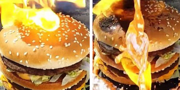 A viral video shows the liquid metal bouncing off the bun. Photo / YouTube, Tito4re