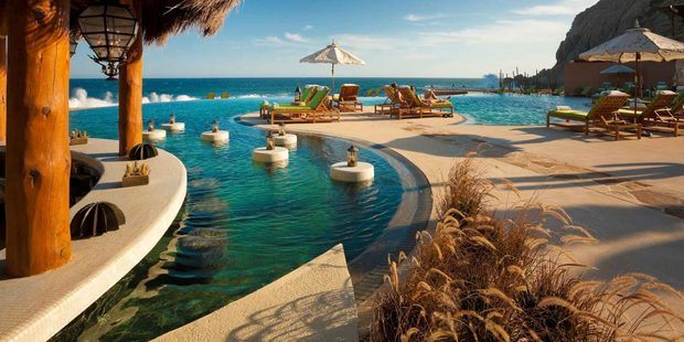 The pool at The Resort at Pedrega, Cabo San Lucas, Mexico.