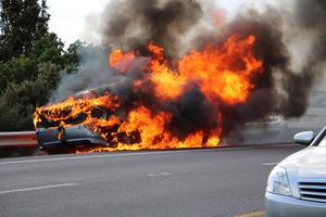 Lucky escape for family whose car burst into flames.