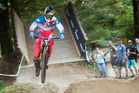 Frenchman Loic Bruni has defended his title in the Crankworx Rotorua Downhill race on Mt Ngongotaha this afternoon. Photo/Ben Fraser