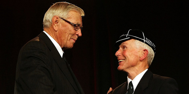Ian Uttley  is capped by NZRU President John Sturgeon in 2009 in Wellington. Photo / Getty Images