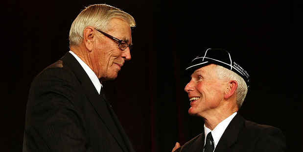 Ian Uttley All Black number 634 is capped by NZRU President John Sturgeon. Photo / Getty Images