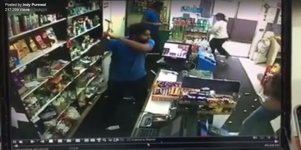 Still from CCTV video posted to Facebook by Indy Purewal 13 March 2016 of a robbery at his shop in Papakura. Photo / Facebook