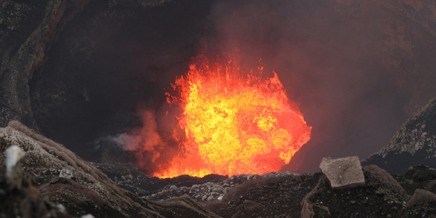 Lava boils at the bottom of Mt Marum's crater.