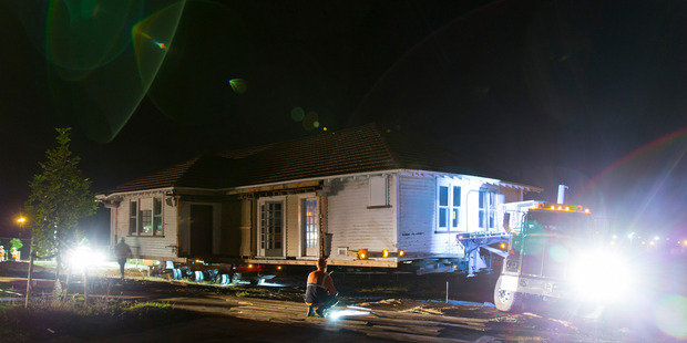 The historic Commander's house on the move. Photo / Supplied