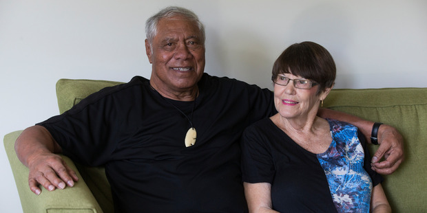 Ex-All Black loose forward legend Waka Nathan with his wife Janice, at home in Dannemora, Auckland. Photo / Brett Phibbs