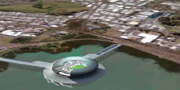 Design for the new Auckland Waterfront Stadium by Pete Bossley of Bossley Architects Auckland. Photo / Supplied