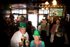 Roy Nutley, 85 (left), and Marion Douglas, 93, celebrated St Patrick's Day at Hennessy's Irish Bar. PHOTO/STEPHEN PARKER