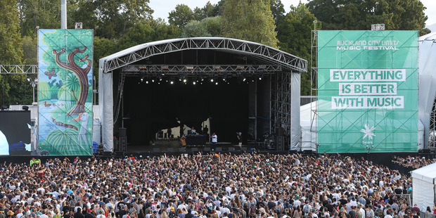 The crowd watching Action Bronson at the inaugural Auckland City Limits festival at Western Springs. Photo / Chris Louft
