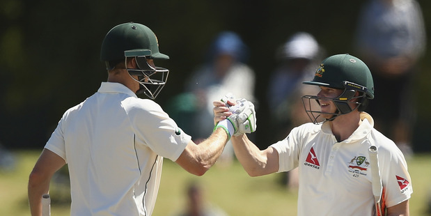 Adam Voges and Steve Smith of Australia. Photo / Getty Images