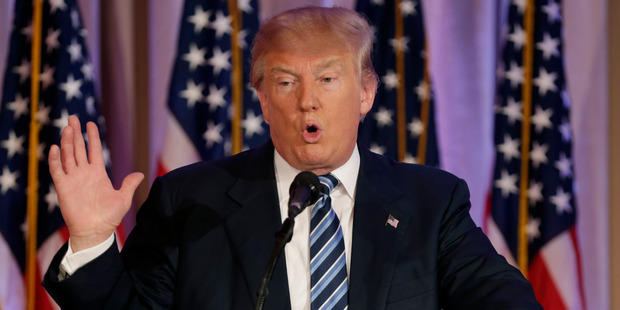 Republican presidential candidate Donald Trump speaks during a news conference. Photo / AP