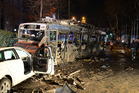 Damaged vehicles at the scene of an explosion in Ankara, Turkey. The explosion is believed to have been caused by a car bomb that went off close to bus stops. Photo / AP
