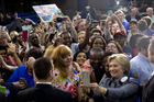 Hillary Clinton was at the centre of proceedings at the Grady Cole Centre in a campaign stop in Charlotte, North Carolina. Photo / AP