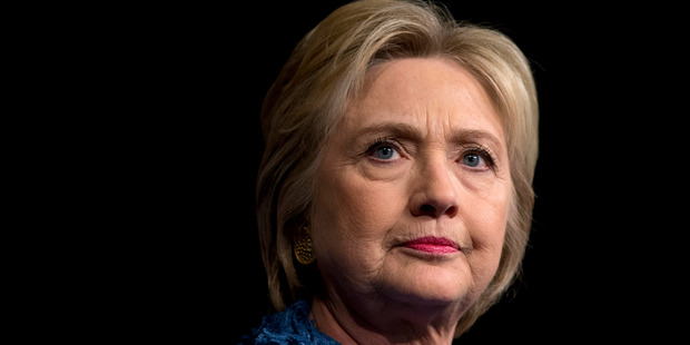 Democratic presidential candidate Hillary Clinton pauses as she speaks during an election night event. Photo / AP