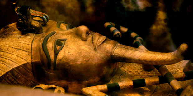 King Tutankhamun's golden sarcophagus is displayed at his tomb in a glass case at the Valley of the Kings in Luxor.Photo / AP