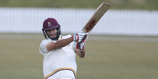 Northetn Districts batsman Bharat Popli pulls a boundary four in the cricket match against the Auckland Aces at Bay Oval yesterday. 23 October 2015 Bay of Plenty Times Photograph by John Borren &#