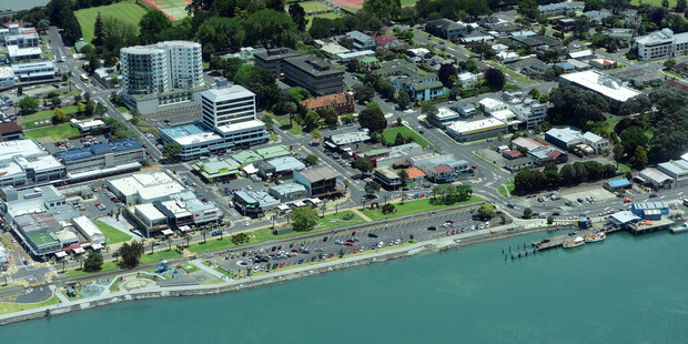Aerial shot of the Tauranga waterfront and central business district. Photo/George Novak