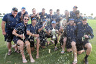 BOP celebrate winning the Hawke Cup from Hawke's Bay in Napier on Sunday. Photo / Duncan Brown