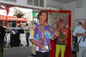 Toi chairman and Carterton councillor Greg Lang, centre, speaking at the opening. PHOTOS/ALISA YONG