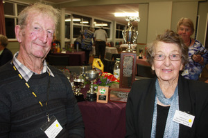Peter and Nola Groves, Tinui, winners of the Rex Porter Memorial Rally, with their trophies. PHOTO/KEVIN BALL