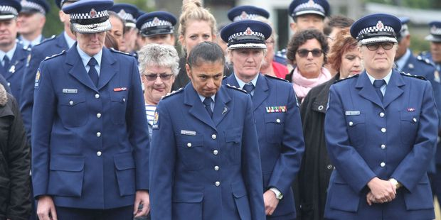 Wairarapa Police area commander Donna Howard, centre back, is welcomed to Te Rangimarie Marae. PHOTO/ANDREW BONALLACK