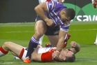 Warning: Graphic content. The 31-year-old former Warriors and Kiwis utility was punched to the ground by Wigan prop Ben Flower in just the second minute of play yesterday, before the Welshman kneeled over him and followed up with a second blow direct to the face.