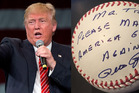 Donald Trump shared a photo of a baseball signed by Ohio legend Pete Rose. But now, it turns out that what some thought was an endorsement wasn't. Photo / AP / Twitter
