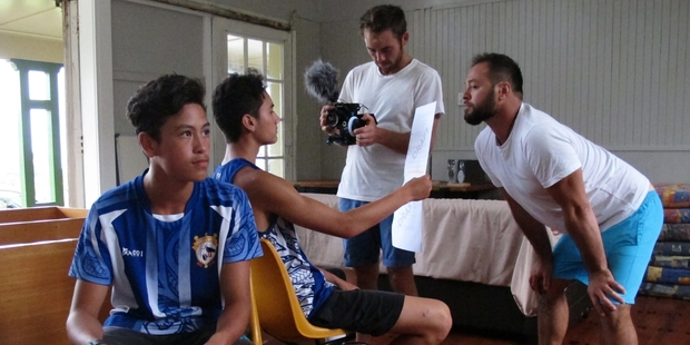 Practising their lines for the short movie The Turning Tide are Keenan Rush, 14, and Donald Morgan, 15, with Adam Hogg on the camera and Jason Taylor directing. Photo / Peter de Graaf