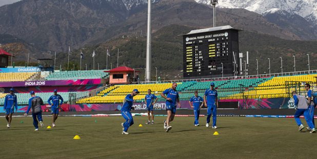 Australian cricket team practices ahead of its match against New Zealand in Dharamsala. Photo / AP