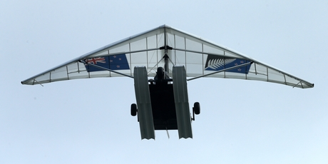 OVER THE MOUNT:The Amphibious Microlight Aircraft flying over Mount Maunganui. PHOTO/SUPPLIED