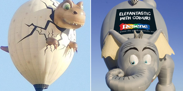 Loading A baby dinosaur and elephant are sure to be top attractions at Balloons Over Waikato this weekend. Photos / Supplied