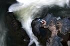 A tramper studies the rapids on the Whakapapa River near Owhango. Photo /  Amos Chapple