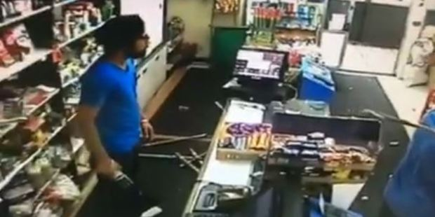 The shop workers used a hockey stick and cricket bat to combat the thieves. Photo / Facebook