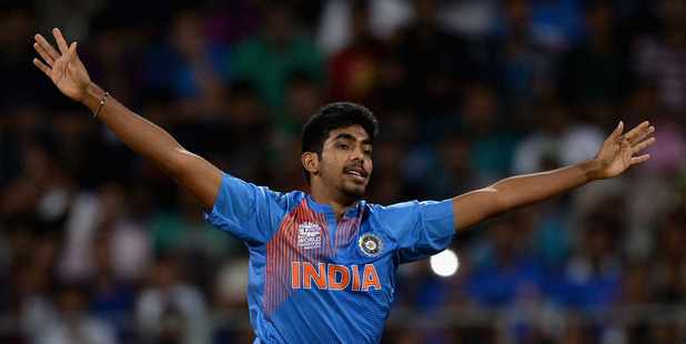 Jasprit Bumrah of India celebrates dismissing Hashim Amla of South Africa during the ICC Twenty20 World Cup warm up. Photo / Getty
