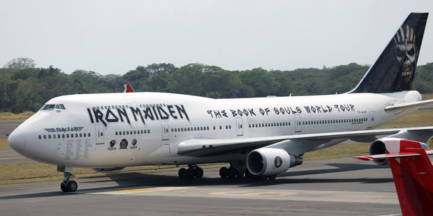 The Ed Force One airplane of British heavy metal band Iron Maiden. Photo / Getty Images
