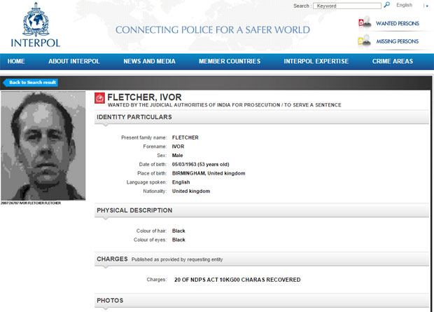 Ivor Fletcher's Interpol profile. Photo / Screengrab