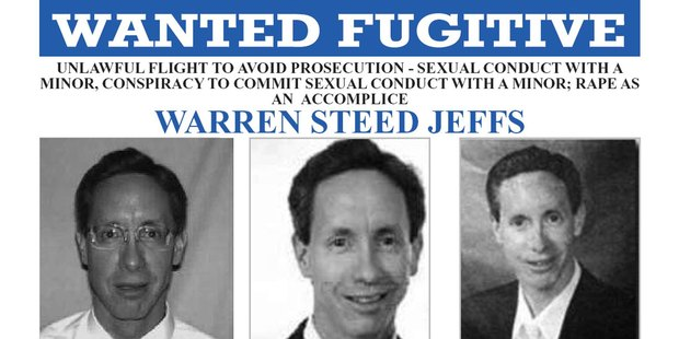 Warren Steed Jeffs was pictured on a FBI Ten Most Wanted poster. Photo / AP