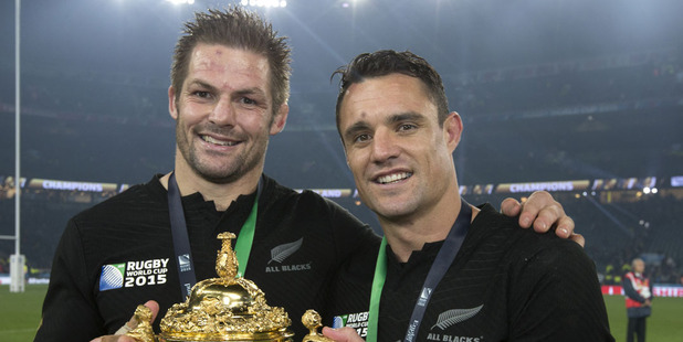 Loading Richie McCaw and Dan Carter celebrate with the Rugby World Cup trophy. Photo / Brett Phibbs