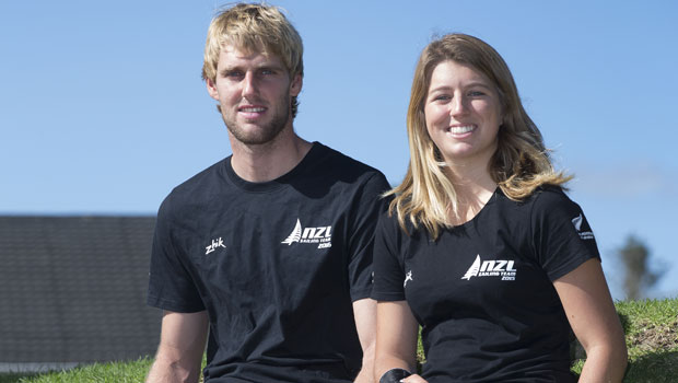 Mixed gender multihull Nacra 17 (L-R) Jason Saunders and Gemma Jones. Photo / Brett Phibbs